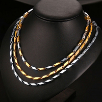 3 PCS Mens Womens Necklaces Stainless Steel Solid Heavy Ingot Link Chain Necklace 4MM 22 Inch