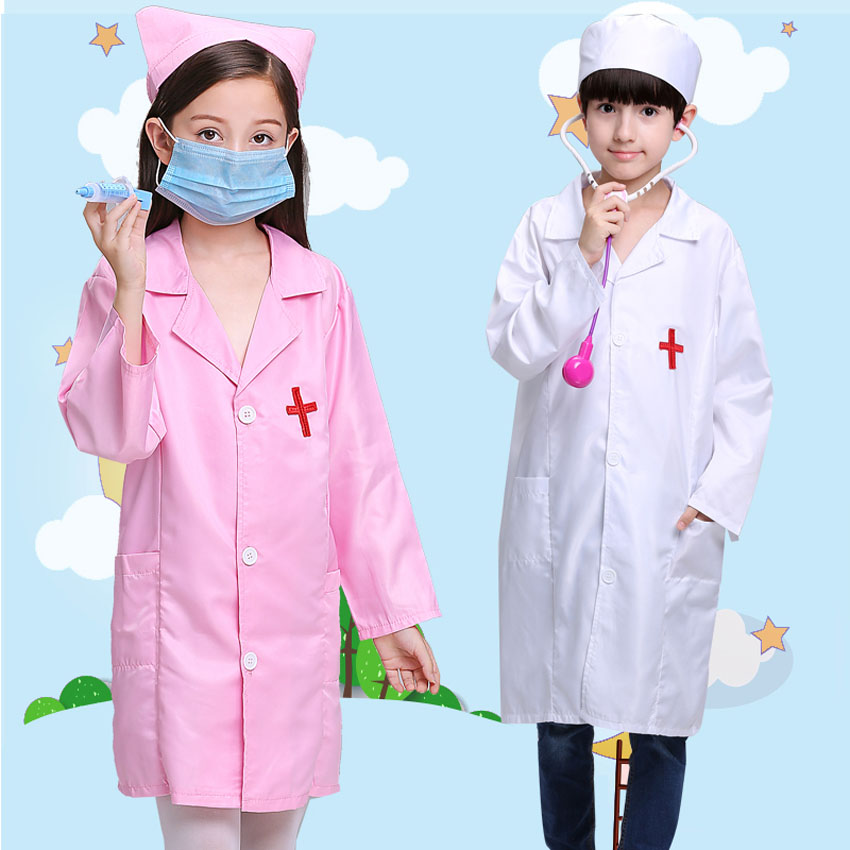Chidlren Stage Wear Performance Dance Cosplay Costumes Girls Halloween Doctor Nurse Uniform Boys Jackets with Toys Wholesale