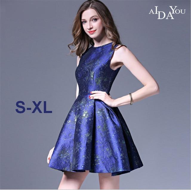 Bankett eleganten frauen mini blau Kleid hohe qualität o neck ...