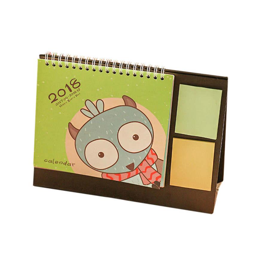 2018 New Quality 2018 Cute Cartoon Animal Desk Desktop Calendar Flip Stand Table Office Planner 13.5x17cm Wholesale &916