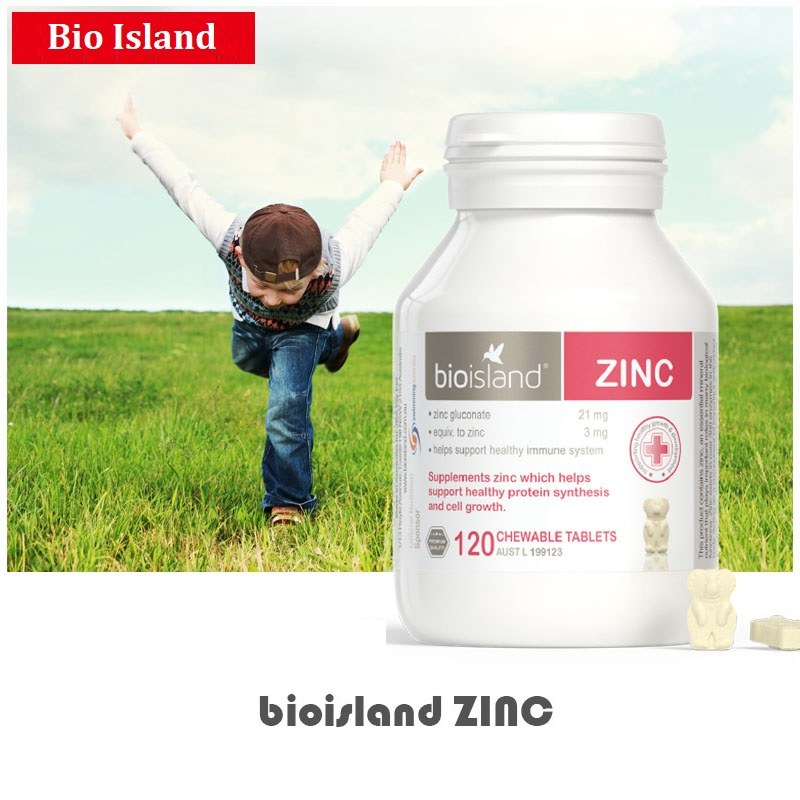 Australia Bio Island ZINC Supplement Milk Flavour Chewable 120Tablets For Children Immune System Growth Development Healthy Skin