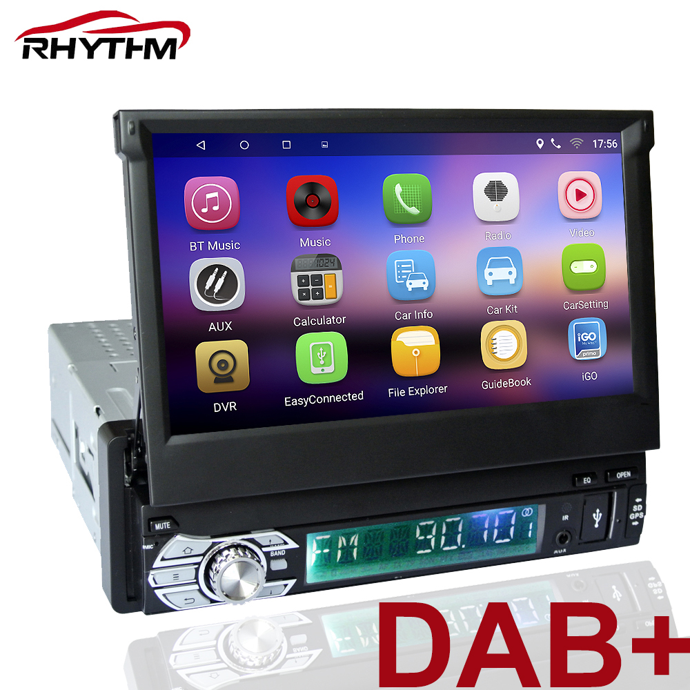 1din dab Android 6.0 GPS Auto Car mutimedia player 7 inch HD touch screen headunit autoradio WIFI DVD Video audio front panel