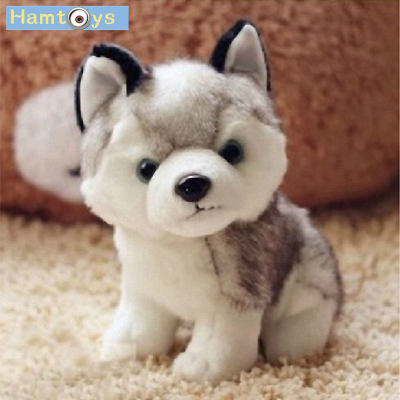 Hamtoys Kawaii 18 CM Simulation Husky Dog Plush Toy Gift For Kids Baby Toy Birthday Present Stuffed Plush Toy Children Boy Girl stuffed dog plush toys black dog sorrow looking pug puppy bulldog baby toy animal peluche for girls friends children 18 22cm