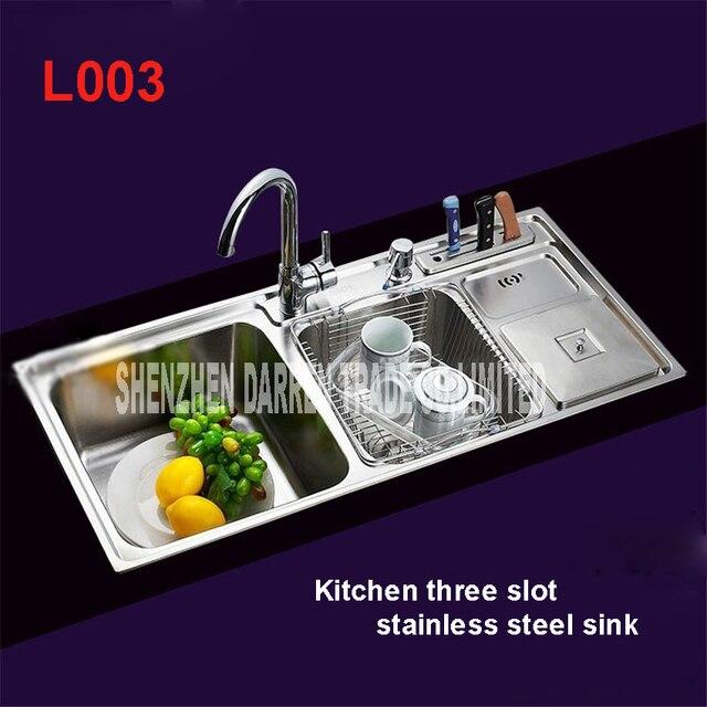 triple kitchen sink counter height tables 91 43 21cm topmount bowl undermount stainless steel sinks