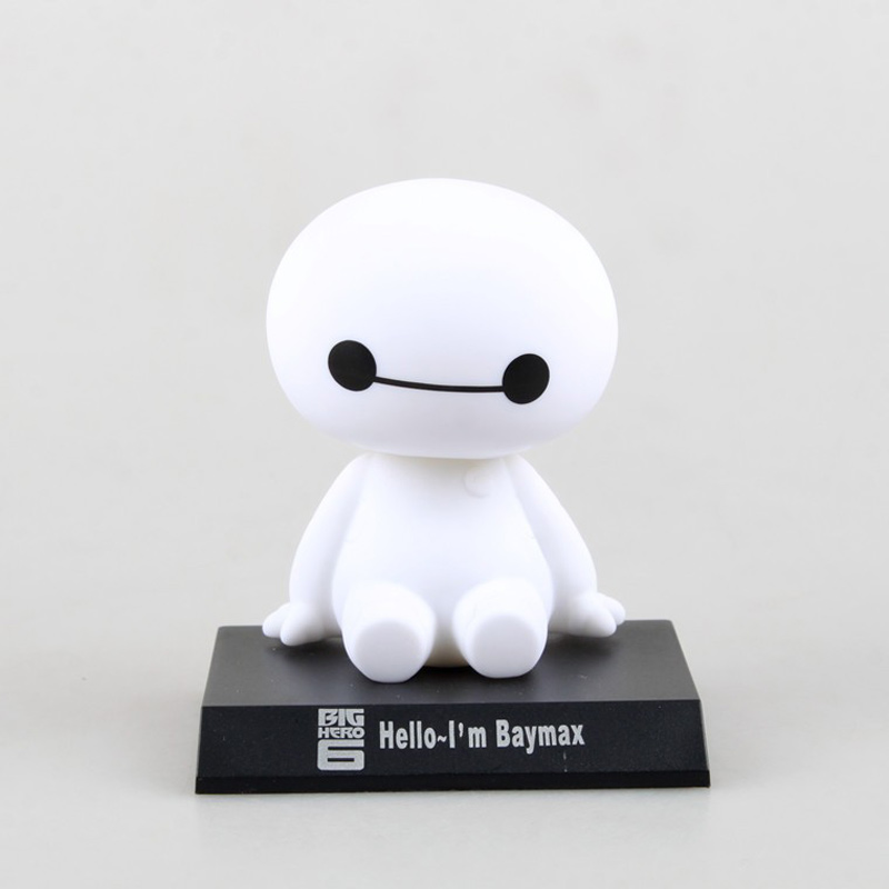 10cm Cute Big Hero 6 Baymax Robot Bobble Head Toys Car Toys Anime Pop PVC Model Figures Doll Head Shaking Figure Model 10cm spider man japanese anime lovely swing doll cute black panther mobile phone holder shaking head action