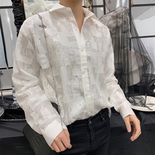 Chic Mens Bling bling Sequins Loose Tops Youth Casual Party Dance White Shirt Male Shirts