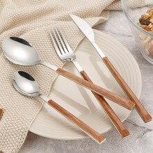 LIRUIKA, новинка, высокое качество, деревянная ручка, нержавеющая сталь, нож, вилка, набор столовых приборов, экологически чистые западные столовые наборы