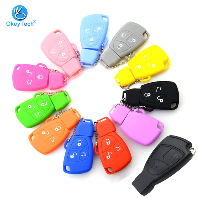 Okeytech Fob Case Replacement Remote-Car-Key-Cover CL Smart-Card Class 3-Buttons Mercedes-Benz