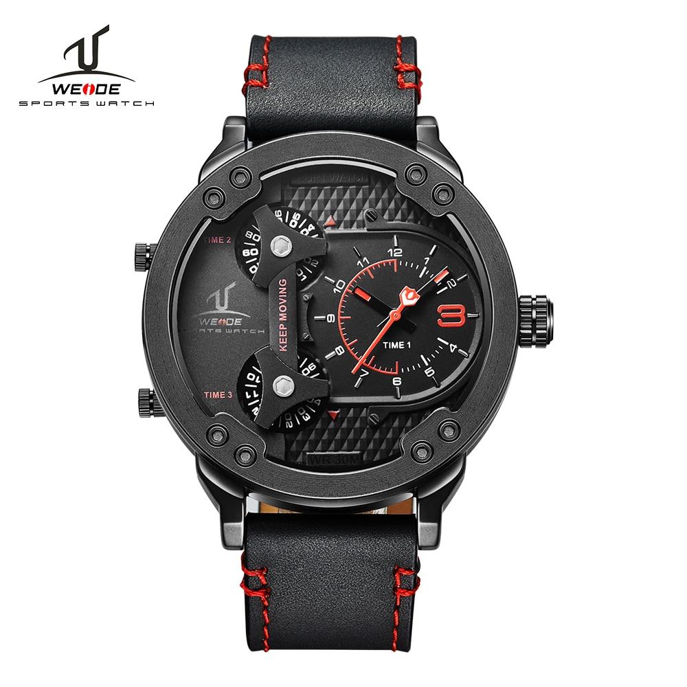 WEIDE Brand Sport Watch Quartz-Watch Black Genuine Leather Strap Multiple Time Zone Fashion Design Male Clock erkek kol saati цена 2017