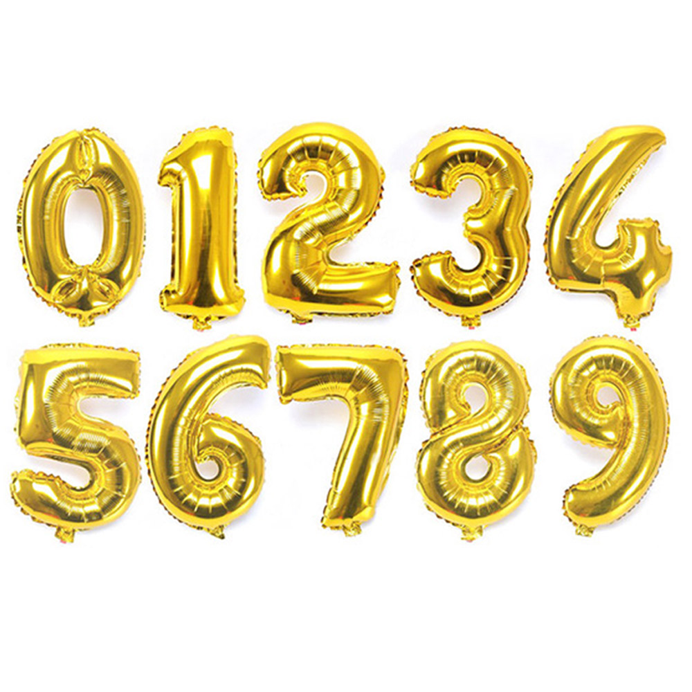 10Pcs Gold 32 Inches Number Birthday Balloons Digit Foil Helium Ballons Party Wedding Event Air Balloon Inflatable Toy