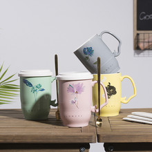 Chinese style tea cup illustration hand painted wind mug ceramic household cover and spoon B