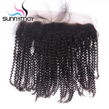 Sunnymay Kinky Curly Brazilian Virgin Hair Closure 13x4 Natural Color Pre Plucked Human Hair Lace Frontal