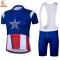 Капитан Америка Велоспорт Джерси Pro Team быстросохнущие Майо короткие летние велосипедные комплекты одежда для велосипеда Ropa Ciclismo Hombre