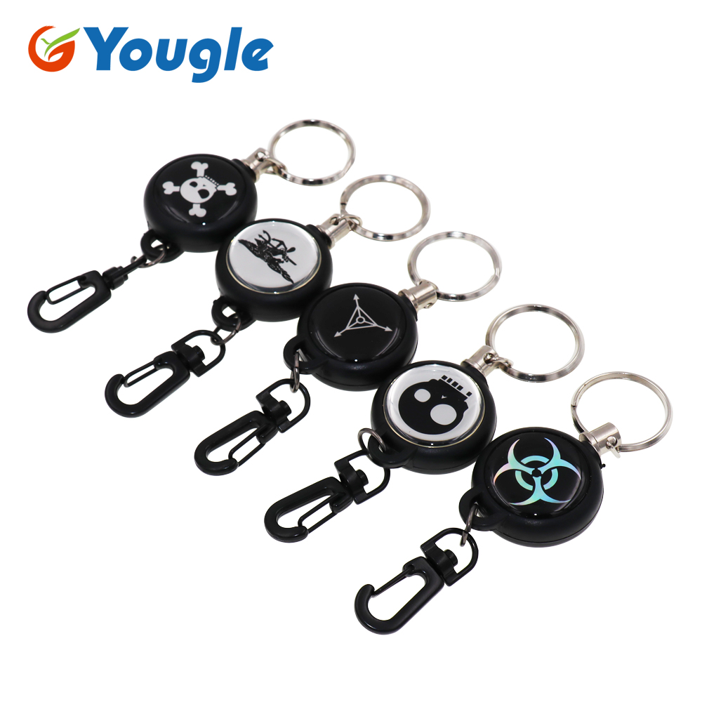 Anti-lost Extendable 60cm Metal Wire Retractable Recoil Key Chain Reel Ring Keyring ID Card Badge Belt Clip Pull Chain