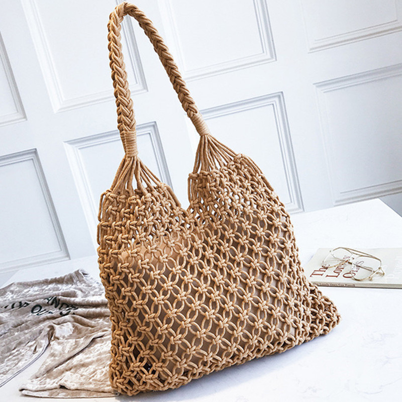 35x35CM Fashion Popular Woven Bag Mesh Rope Weaving Tie Buckle Reticulate Hollow Straw Bag Simple Fish Bags for Women 2018 Bolsa