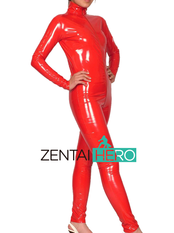 Free Shipping DHL Custom Made Adult Sexy Women's Red PVC Front Zipper Zentai Catsuit XRB039