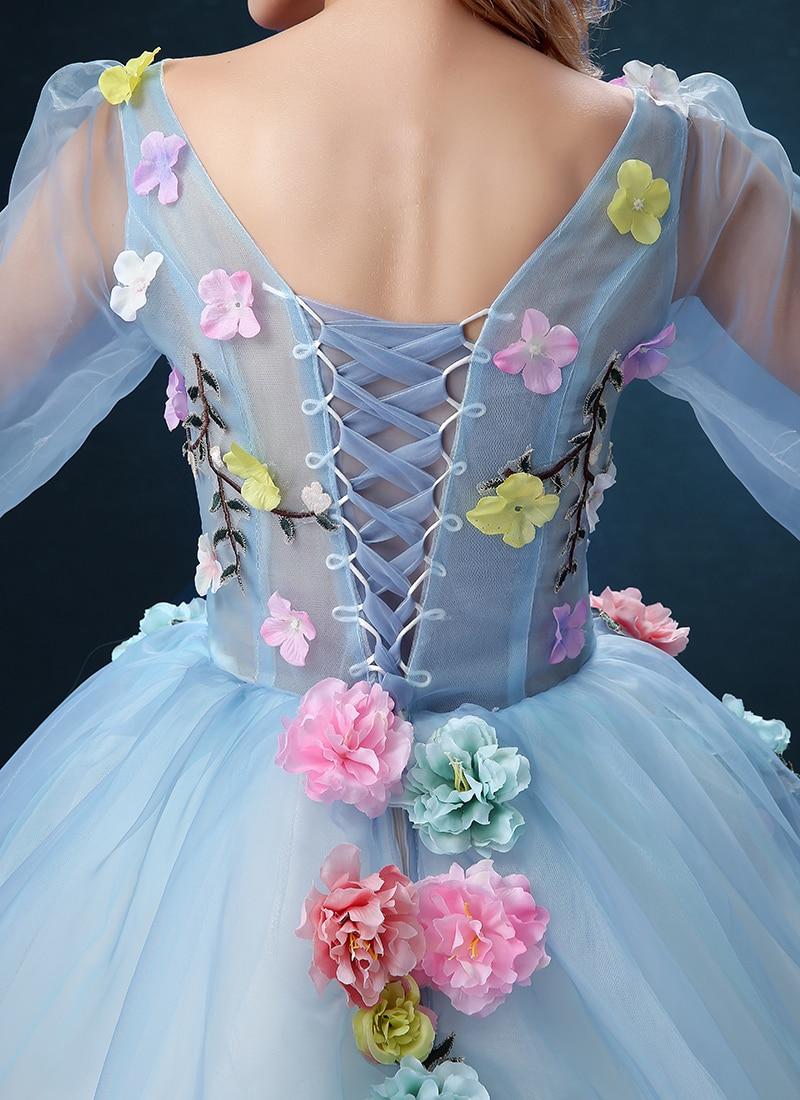 Walk Beside You Flower Fairy Blue Evening Dresses Long Sleeve Prom ...