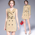 Autumn Women Elegant business dress sets Ladies Double Breasted Soild Khaki Short Coat+Vest dresses two-piece dress suit 6239