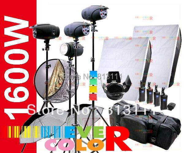1600W 스트로브 스튜디오 플래시 조명 키트 사진 4X 400W 라이트 세트
