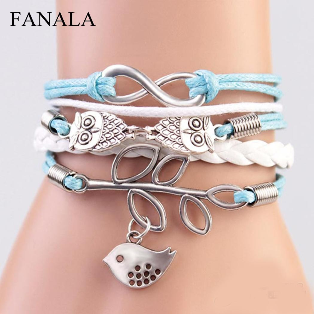 FANALA Bracelet Women Animal-Rope Multilayer Owl for Bird Leaf Alloy Hollow-Out