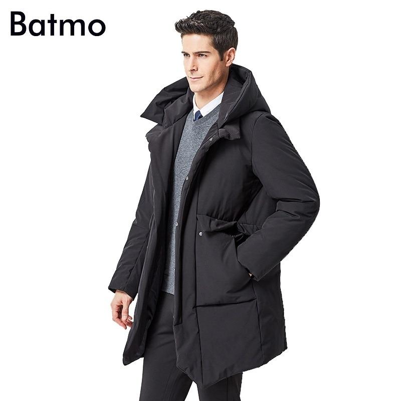 Batmo 2018 new arrival winter high quality white duck   down   black hooded jackets men,winter men's warm   coat   888004