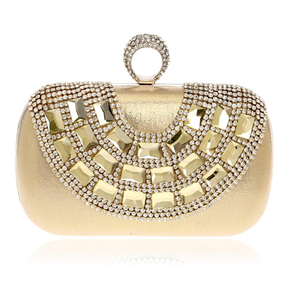 Perla bolsos de tarde del rhinestone con cuentas de embrague del anillo del dedo