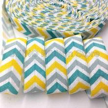 FOE Ribbon Bracelet Wristband Elastic Hair-Tie Arrow-Print Fold-Over 10-Yards DIY Chevron