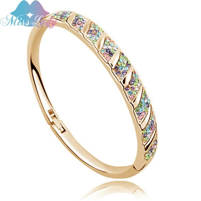 Miss Lady Summer Style Gold Color Austrian Crystal Vintage Round Bracelets Bangles Wholesale