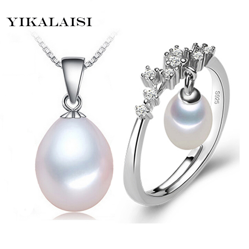 2016 Wholesale Price 100%natural freshwater pearl set pendant,ring 925 sterling silver jewelry choker necklace high quality