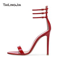2018 Fashion Open Toe Female Sandals Supper High Heels Evening Woman Shoes Ladies Red Patent Leather Sandals With Three Buckle