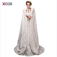 Elegant Cheap 2017 Warm Bridal Cape Ivory White Winter Fur Coat Women Wedding Bolero Jacket Bridal