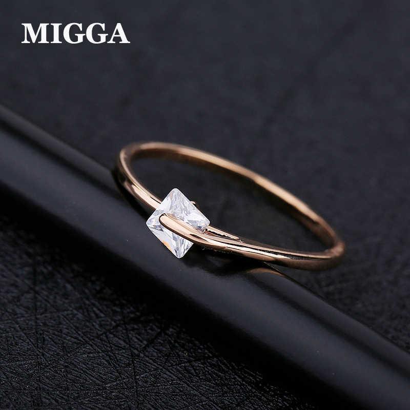 MIGGA Bague en Zircon cubique femme, carré Simple, délicat et brillant, en Zircon, à la mode, cadeau pour femme, couleur or Rose