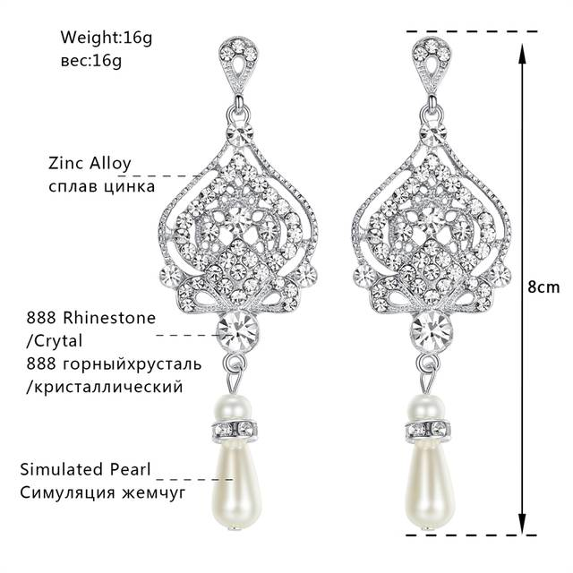 placeholder Mecresh Simulated Pearl Chandelier Wedding Earrings for Women  Silver Color Crystal Party Hanging Brincos Christmas Jewelry 1f2f288c8538