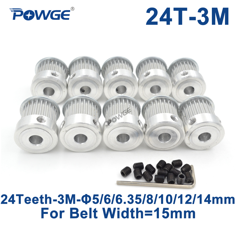 POWGE 10pcs 24 Teeth HTD 3M Timing Pulley Bore 5/6/6.35/8/10/12/14mm for Width 15mm 3M Synchronous belt pulley HTD3M 24T 24Teeth купить недорого в Москве