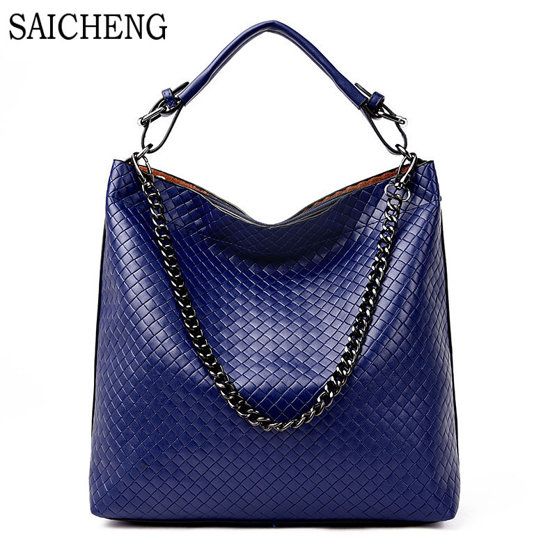 ФОТО SAICHENG Brand 2017 New Weaving Womens Handbag Leather Women Bag Ladies Shoulder Bags Fashion Chains Female Handbags Clutch Sac