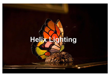 New Arrival Tiffany Table Lamp Vintage Butterfly Shape Bedside Table Lamp Stained Glass Lamp Living Room Hotel Light Fixture