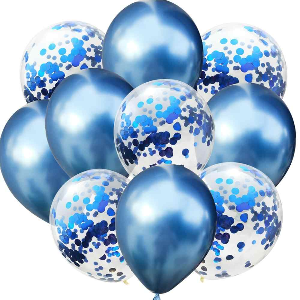 LAPHIL 10pcs Multi Confetti Balloons Happy Birthday Party Decorations Kids Blue Pink Boy Girl Baby Shower Supplies Gender Reveal