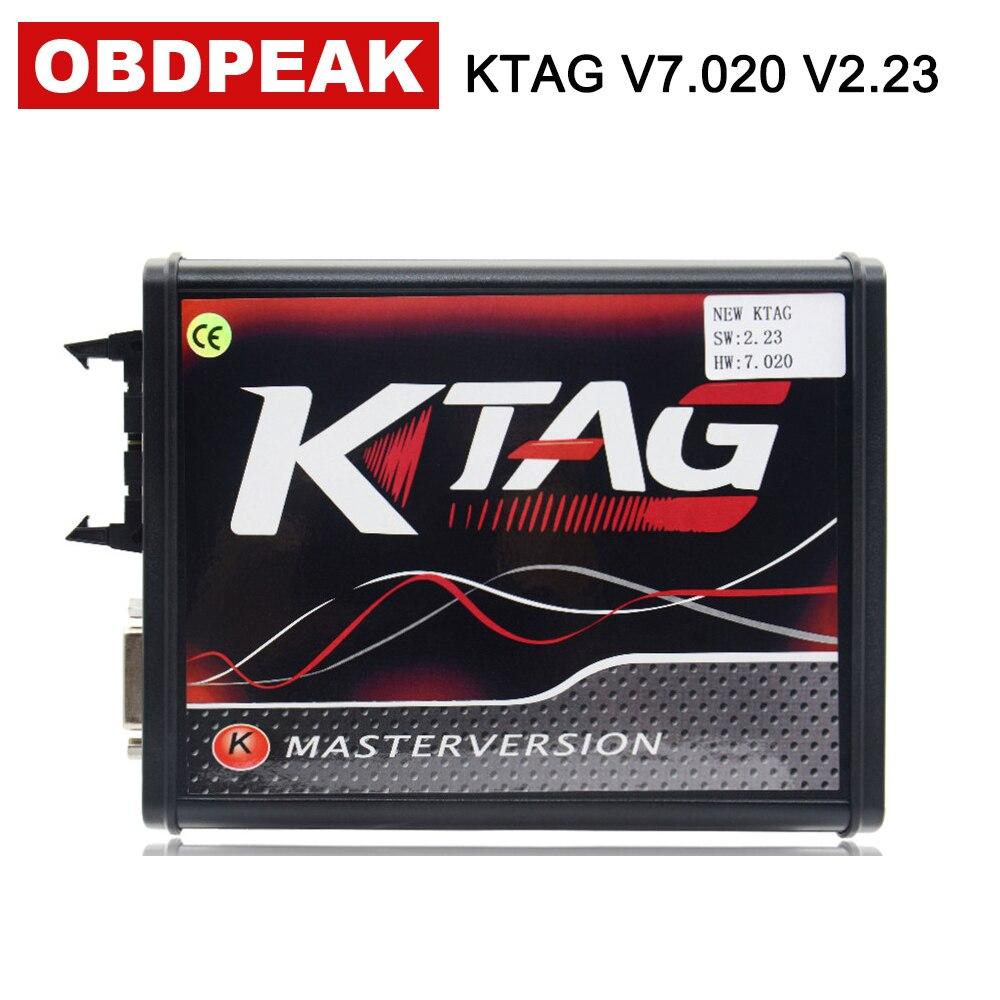 En ligne EU Ktag 7.020 avec 4 LED V2.23 carte PCB rouge Version Master ECU outils de programmation 100% pas de limite de jeton programmeur ECM