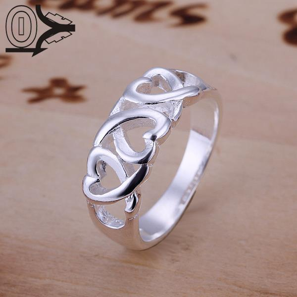 Christmas Gift Wholesale Silver-plated Ring,Silver Fashion Jewelry,Three Kelp Women&Men  ...
