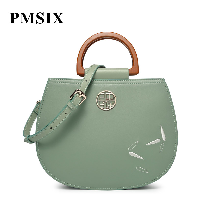 PMSIX Simple Fashion ancient Embroidery Flowers Handbags leather handbag Designer Handbags elsie mochrie simple embroidery