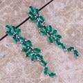 Perfeito Criado Verde Esmeralda 925 Sterling Silver Gota Brincos Pendurados Para As Mulheres S0201