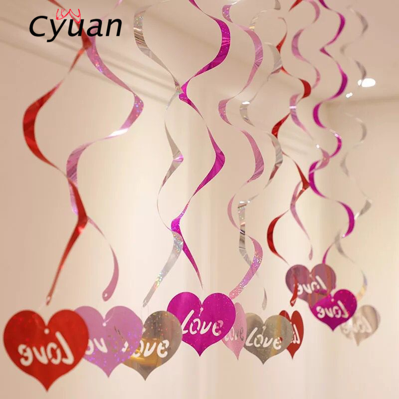 Cyuan 12pcs/lot PVC Love Heart Foil Hanging Swirls Spiral Ornaments Valentine Day Wedding Anniversary Party Decoration Supplies