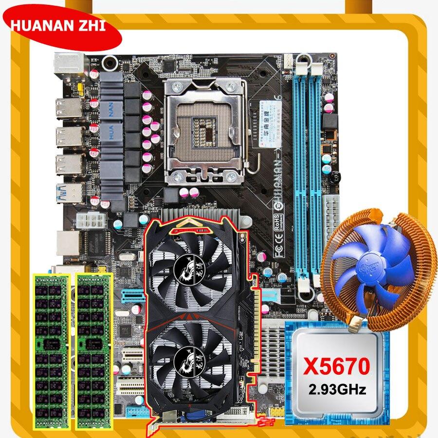 HUANAN ZHI descuento X58 LGA1366 placa base con CPU Intel Xeon X5670 2,93 GHz con enfriador RAM 8G REG ECC GTX750Ti 2G tarjeta de video