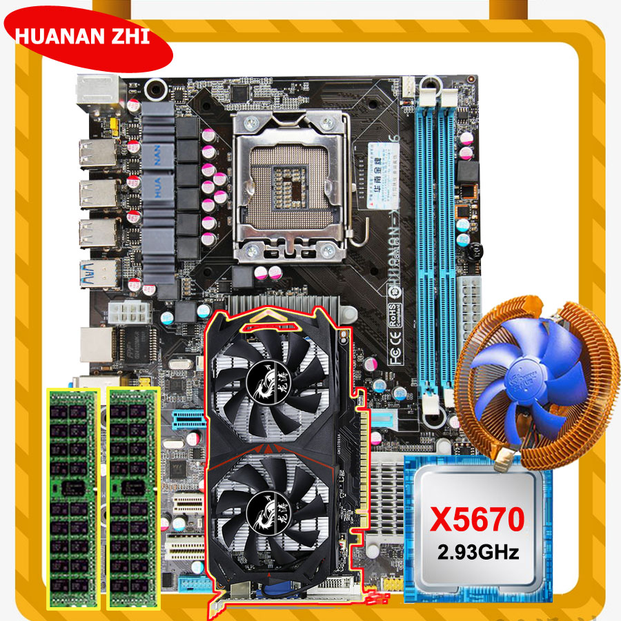 HUANAN ZHI Discount X58 LGA1366 Motherboard With CPU Intel Xeon X5670 2.93GHz With Cooler RAM 8G REG ECC GTX750Ti 2G Video Card