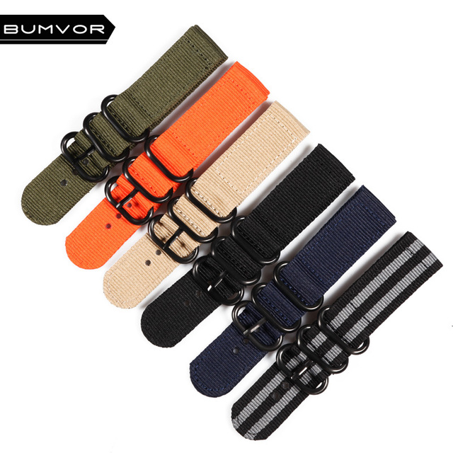 20 22 24mm Solid bracelet Army Green Military nato fabric Nylon Watch watchbands