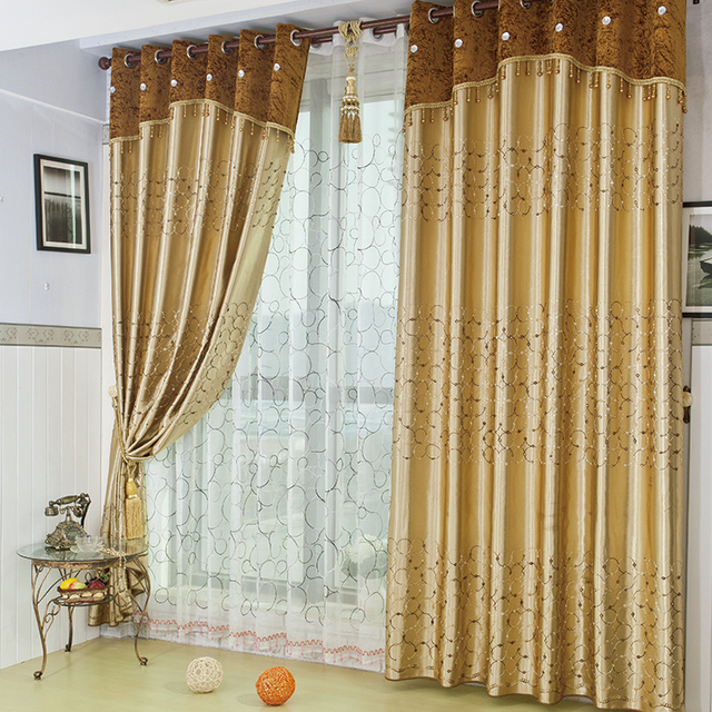 Gold Embroidered Gauze Window Full Blackout Curtains