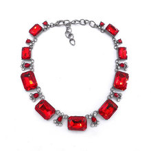 Fashion Popular Red Gems Exaggerated Necklace Jewelry Gift Female Clavicle Chain Rhinestone Vintage Boutique