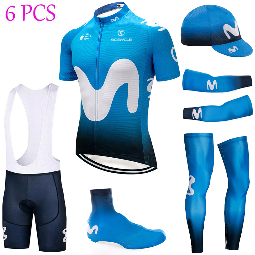 TEAM 2018 Blue M Full cycling jersey Bike shorts suit with bike sleeve warmers shoes cover ropa ciclismo BICYCLE Maillot Culotte