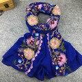 Японский Этническом Стиле Вышитые Шарфы и Шали для Женщин Дизайн Одежды Мусульманская Хиджаб Шарф и Пашмины для Женщин