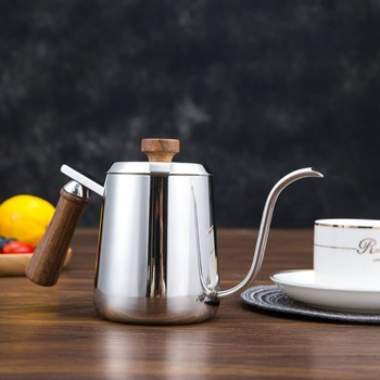 Coffee pot stainless steel swan hand pot wooden handle small mouth pot coffee pot c